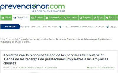 A vueltas con la responsabilidad de los Servicios de Prevención Ajenos de los recargos de prestaciones impuestos a las empresas clientes